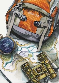 Bovenaanzicht illustratie van rugzak met verrekijker en kompas op kaart. conceptuele flatlay-illustratie van reiziger, reis. reisaccessoires