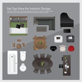 Bovenaanzicht instellen voor interieurontwerp. geïsoleerde illustratie
