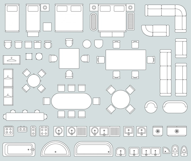 Bovenaanzicht interieur met lijn meubilair pictogrammen