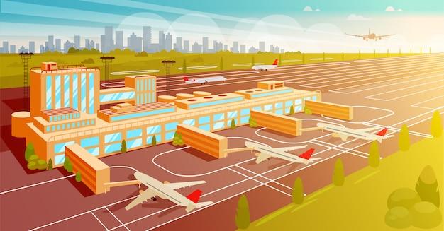 Bovenaanzicht luchthaven en startbaan vlakke afbeelding.