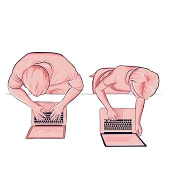 Bovenaanzicht man en vrouw werken op kantoor met laptop