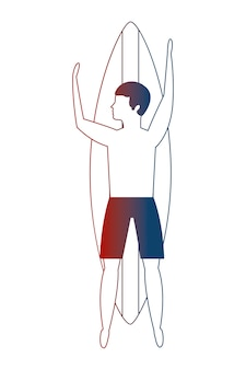 Bovenaanzicht man in zwembroek op surfplank