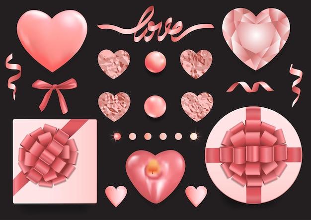 Bovenaanzicht objecten instellen romantische elementen voor het begroeten van valentijnskaarten en verjaardagskaarten