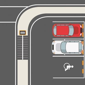 Bovenaanzicht parkeerzone
