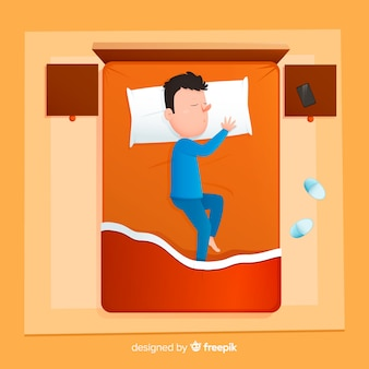 Bovenaanzicht persoon slapen in bed