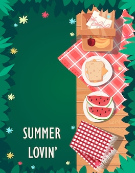 Bovenaanzicht picknick zomer ontwerp