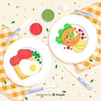 Bovenaanzicht platte voedsel achtergrond