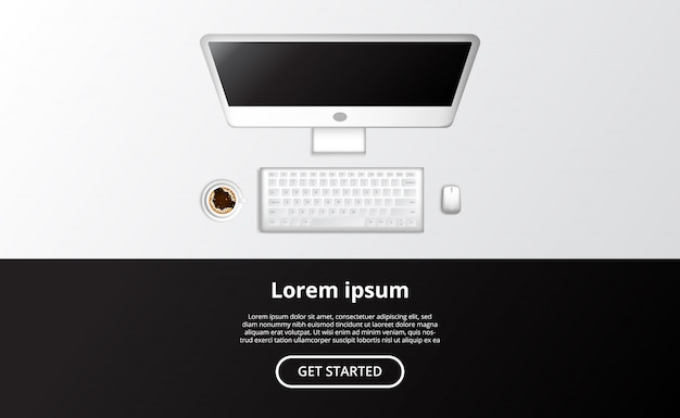 Bovenaanzicht realistische computer alles in één pc met muis en een kopje koffie.