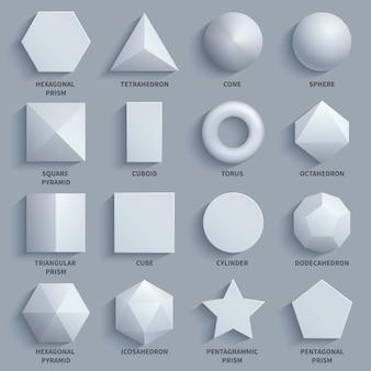 Bovenaanzicht realistische witte wiskundige basis 3d vormen vector set.
