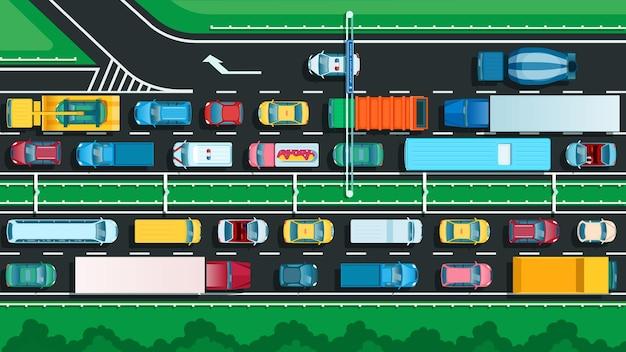 Bovenaanzicht snelweg met verkeersopstopping veel auto's op stadsstraat transportprobleem