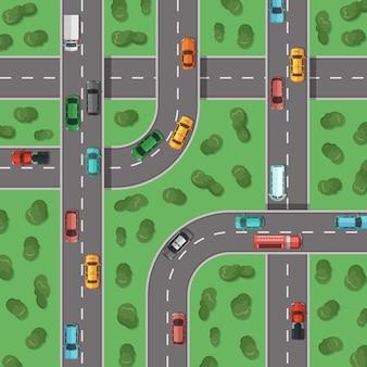 Bovenaanzicht snelwegen met auto's en met bomen