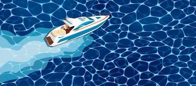 Bovenaanzicht speedboot op water. luxe jachtrace, zeeregatta-poster.