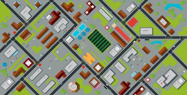 Bovenaanzicht stadsplattegrond met stadion en publiek