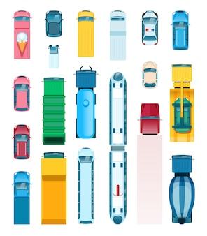 Bovenaanzicht stadsvervoer bestelwagen bus vrachtwagen taxi politie auto ambulance platte set