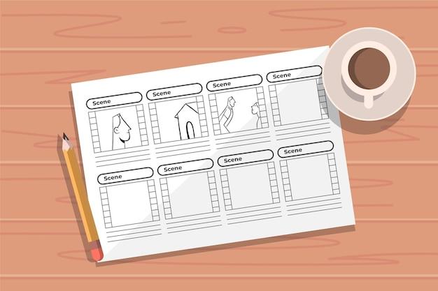 Bovenaanzicht storyboard concept en koffie