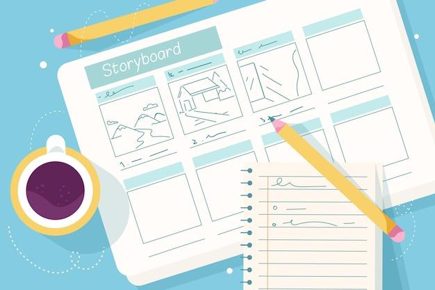 Bovenaanzicht storyboard concept