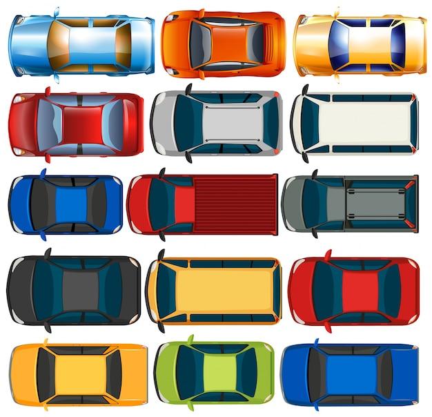 Bovenaanzicht van auto's en vrachtwagens illustratie