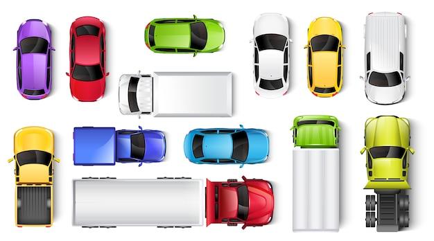 Bovenaanzicht van auto's en vrachtwagens