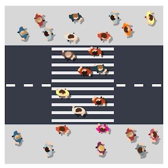 Bovenaanzicht van bovenaf de kruising van de straat