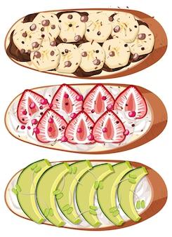 Bovenaanzicht van brood met fruit topping