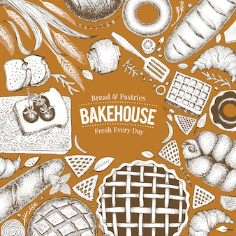 Bovenaanzicht van de bakkerij. hand getrokken vectorillustratie met brood en gebak.