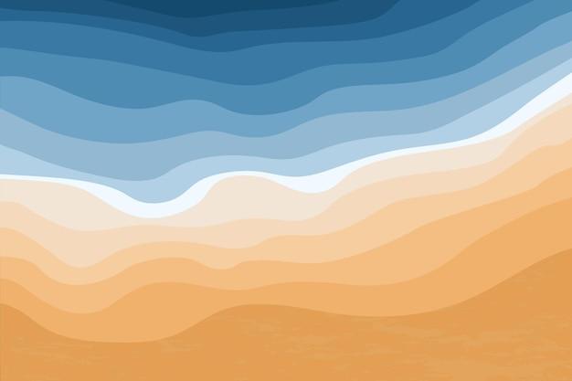 Bovenaanzicht van de blauwe zee en het zandstrand oceaangolven abstracte stijlvolle tropische kustlijn