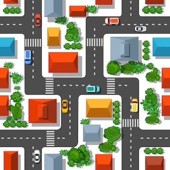 Bovenaanzicht van de geplande stad. naadloos herhalend patroon