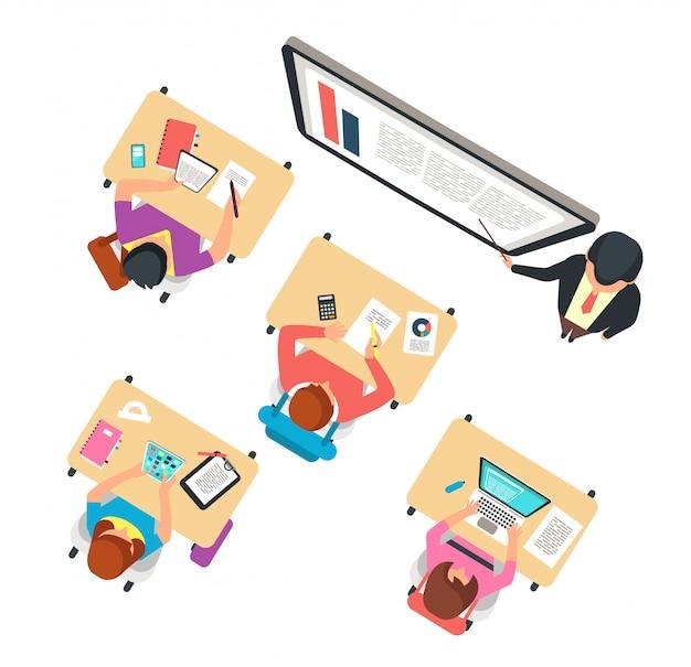 Bovenaanzicht van de klas. kinderen en leraar die in schoolklasse bestuderen met bord vectorillustratie