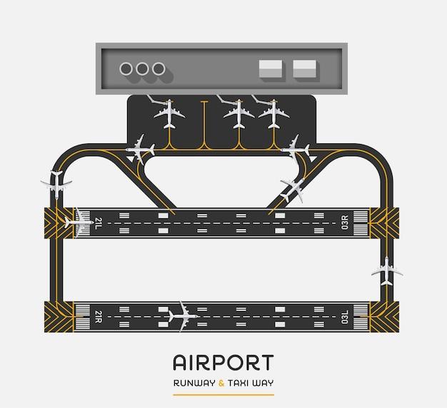 Bovenaanzicht van de landingsbaan van de luchthaven en de taxi met vliegtuig