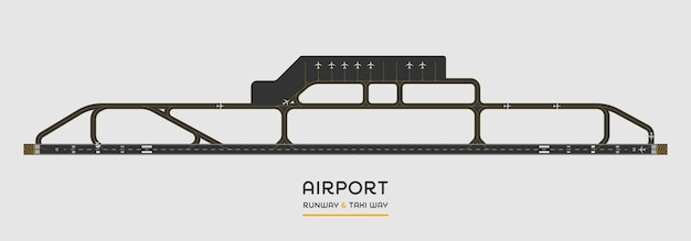 Bovenaanzicht van de landingsbaan van de luchthaven en taxibaan met vliegtuig