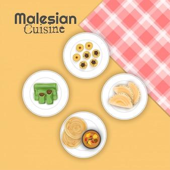 Bovenaanzicht van de malesische keuken