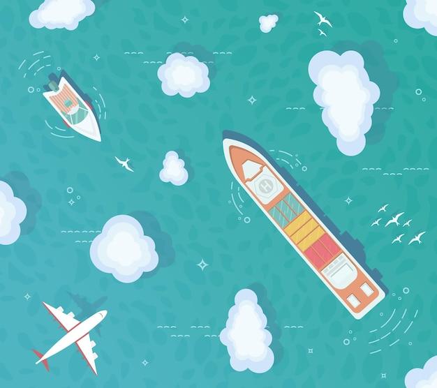 Bovenaanzicht van de oceaan. containerschip, vrachtschip, jacht, boot midden op de oceaan.