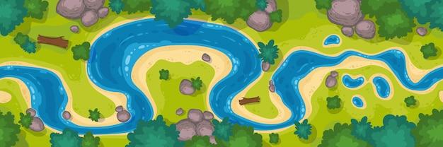 Bovenaanzicht van de rivier, cartoon curve rivierbedding met blauw water, kustlijn met rotsen, bomen en groen gras