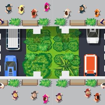 Bovenaanzicht van de stad. stedelijk kruispunt met auto's en huizen, voetgangers.
