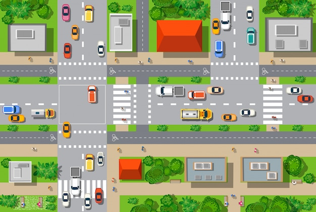 Bovenaanzicht van de stad vanuit de straten, wegen, huizen en auto's