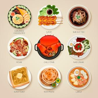 Bovenaanzicht van de traditionele delicatessencollectie van singapore