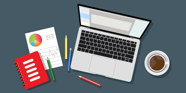 Bovenaanzicht van de werkplek achtergrond, monitor, toetsenbord, notebook, koptelefoon, telefoon, documenten, mappen, planner, potloden, project, koffie. werkgebied, analyse, optimalisatie, beheer.