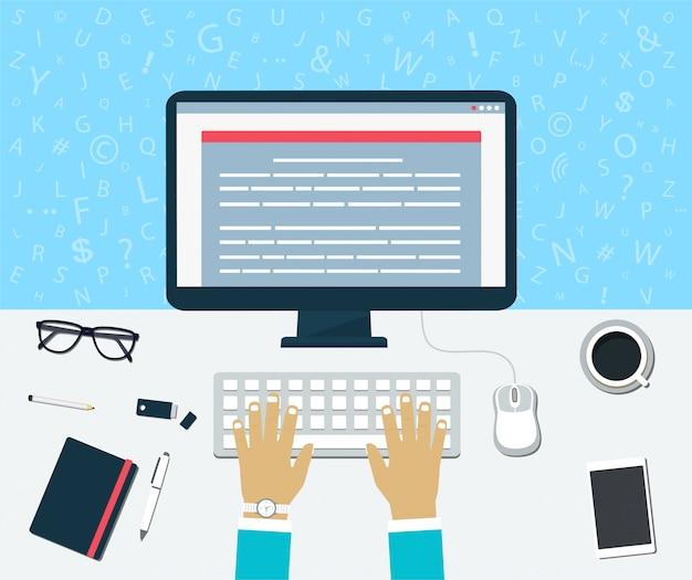 Bovenaanzicht van de werkplek. voer inhoud op de computer in