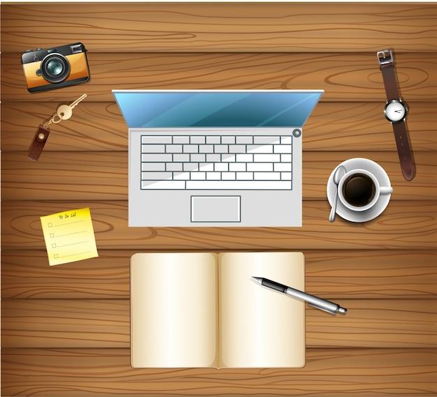 Bovenaanzicht van de werkruimtetafel