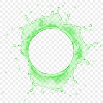 Bovenaanzicht van doorschijnend water kroon met druppels in groene kleuren, geïsoleerd op transparante achtergrond. transparantie alleen in vectorbestand