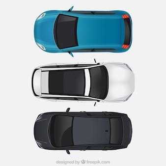 Bovenaanzicht van drie moderne auto's