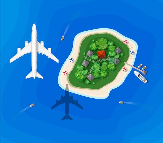 Bovenaanzicht van een eiland tour het schip met een vliegend vliegtuig