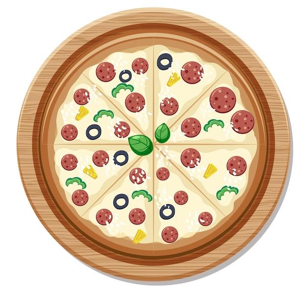 Bovenaanzicht van een hele heerlijke pizza op houten plaat geïsoleerd op een witte achtergrond