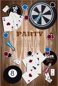 Bovenaanzicht van een houten tafel met items voor gok- en sportspellen