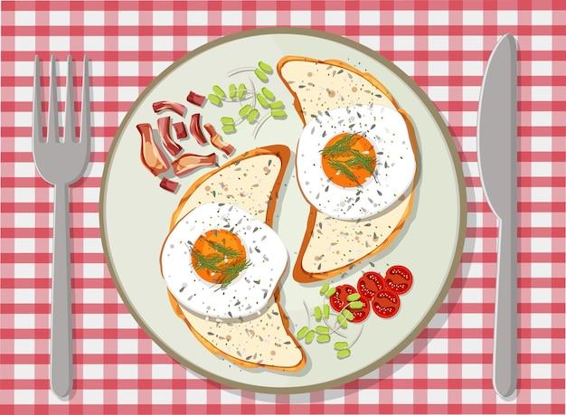 Bovenaanzicht van een ontbijtset in een bord