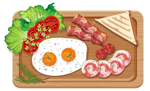 Bovenaanzicht van een ontbijtset in een snijplank