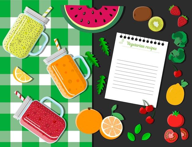 Bovenaanzicht van een tafel met glazen smoothies, fruit, groenten en bessen platte vector