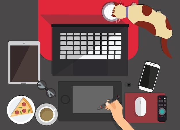 Bovenaanzicht van grafisch ontwerper werkplek