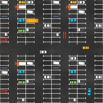Bovenaanzicht van grote parkeerplaats met veel realistische glanzende auto's op asfalt