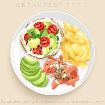 Bovenaanzicht van heerlijke ontbijt set geïsoleerd op beige achtergrond: illustratie